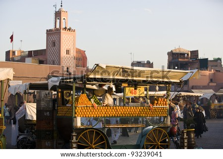 MARRAKESH, MOROCCO - NOVEMBER 3: Unidentified people visit the Jema el Fna Square in Mararkech on November 3, 2007 in Marrakesh, Morocco. The square is part of the UNESCO World Heritage.