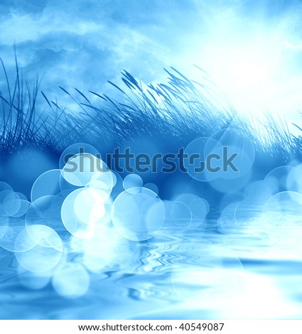 marram grass on a bright blue background