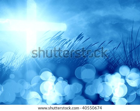 marram grass with a glowing cross on it - stock photo