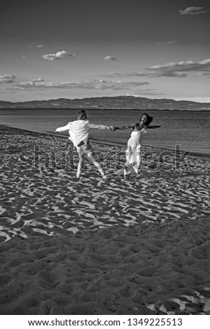 marriage and wedding concept. marriage and wedding dance on ceremony in summer beach #1349225513