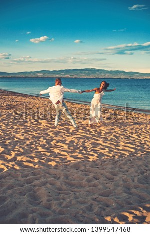 marriage and wedding concept. marriage and wedding dance on ceremony in summer beach #1399547468