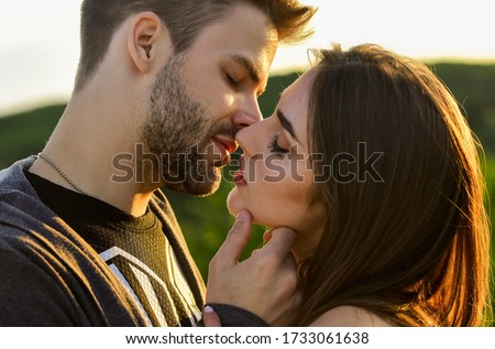 married couple kissing making love on honeymoon. kissing couple portrait. delicate gorgeous kiss. man kiss woman. couple in love. I love you. Closeup mouths kissing. romantic relations.