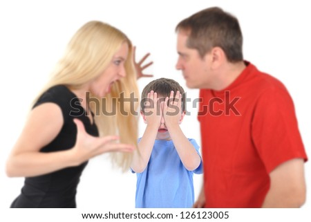 Married parents are fighting and yelling in front of their boy child on a white isolated background.