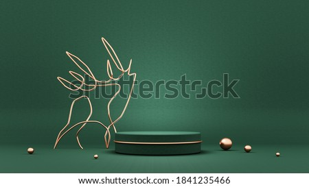 Marry Christmas and New Year greeting card, poster, banner with  deer, trees and toys - 3D, render. Symbol, emblem, sign,logo of simple objects with golden elements. Stand, podium, pedestal for goods.