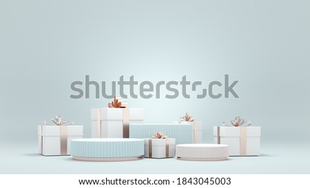 Marry Christmas and New Year greeting card, poster, banner with   stars and toys - 3D, render. 3D Christmas background. Podium, stand, platform for product presentation with neon stars and tree.