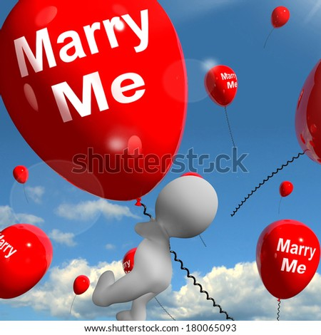 Marry Me Balloon Representing Engagement Proposal for Lovers