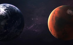 Mars and Earth, Planets of the Solar system. InSight mission. El