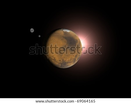 Mars and Sun. 3D space rendering