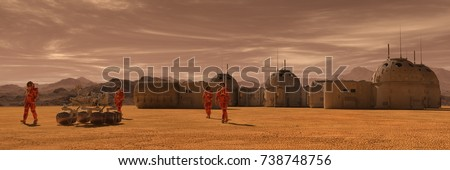 Mars colony. Expedition on alien planet. Life on Mars. 3d Illustration.