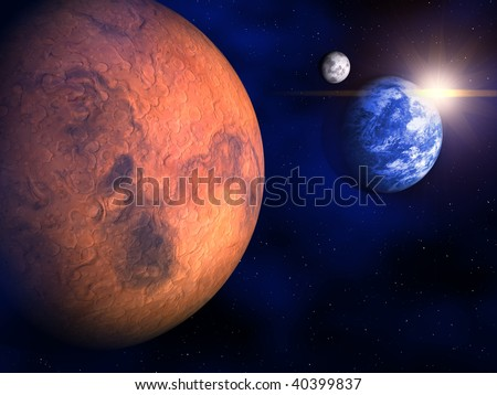 Mars, Earth and the Moon in space - 3d render