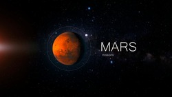 Mars, exploration and missions to the red planet, Martian exploration, planet and inscription. Elements of this image furnished by NASA.