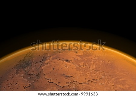 Mars horizon with Mars channels and visible Mars atmosphere. Render.