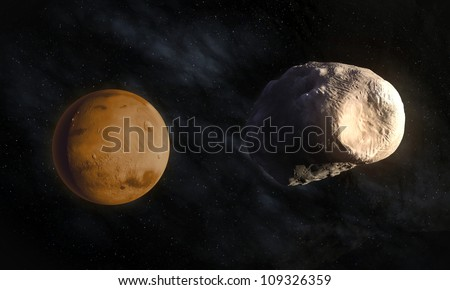 Mars' larger moon Phobos with visible Stickney crater