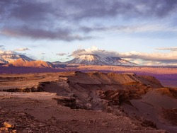 Mars like Landscape in Valle de la Luna (Valley of the Moon), in Atacama desert near the Andean Mountains