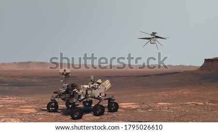 Mars. Perseverance rover and Ingenuity helicopter explore Mars against the backdrop of a real Martian landscape. Exploring Mission To Mars. Elements of this video furnished by NASA. 3d rendering.