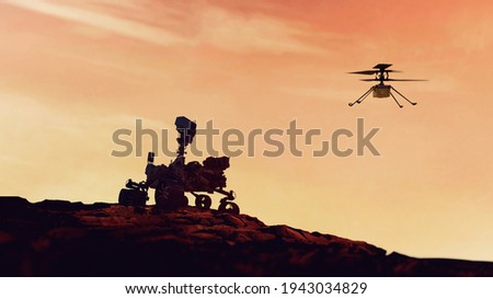 Mars Rover Perseverance and Mars Helicopter Ingenuity exploring the red planet. Mission to explore the red planet. search for traces of life. Elements of image furnished by NASA.