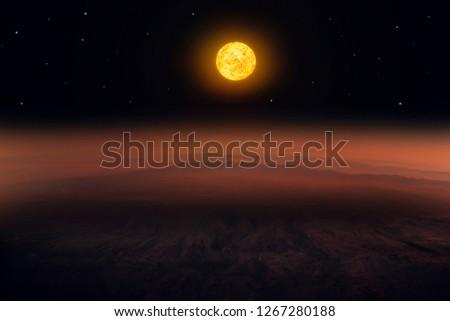 Mars Scientific .  planetary landscape . light of the Sun it is far .  #1267280188