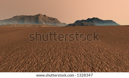 Mars Skyline with Eroded Hills