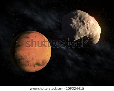 Mars' smaller moon Deimos with the planet visible in the background