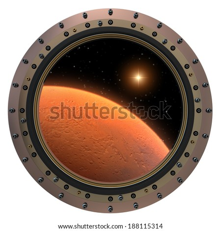 Mars Spacecraft Porthole. 3D Scene. Elements of this image furnished by NASA.