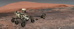 Mars. The Perseverance rover deploys its equipment against the backdrop of a true Martian landscape. Exploring Mission To Mars. Colony on Mars. Elements of this video furnished by NASA.