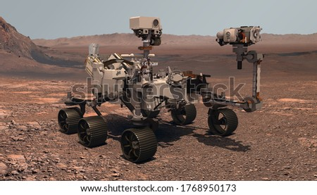 Mars. The Perseverance rover deploys its equipment against the backdrop of a true Martian landscape. Exploring Mission To Mars. Colony on Mars. Elements of this video furnished by NASA. 3d rendering. Foto d'archivio ©