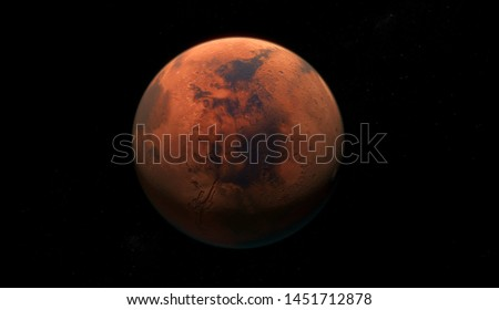 Mars, the red planet, 3d rendering with detailed surface features, with atmosphere, dark background, centrally placed