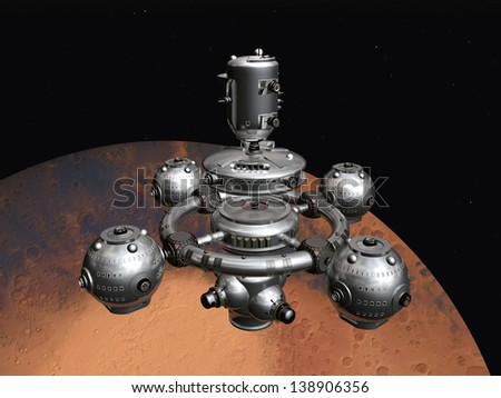 Mars with Space Station Computer generated 3D illustration