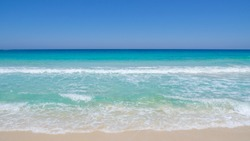 Marsa Matruh, Egypt. The amazing sea with tropical blue, turquoise and green colors. Relaxing context. Fabulous holidays. Mediterranean Sea. North Africa. Clean and pristine sea