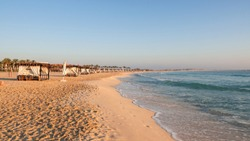 Marsa Matruh, Egypt. The sandy beach and the sea at the sunset. Relaxing context. Fabulous holidays. Mediterranean Sea. North Africa
