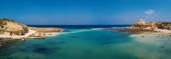 Marsalforn bay panoramic aerial view in Gozo island, Malta.
