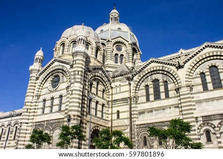 MARSEILLE, FRANCE - August 11, 2016: Marseille Cathedral (Cathedrale Sainte-Marie-Majeure or Cathedrale de la Major), a Roman Catholic cathedral and a national monument of France. #597801896