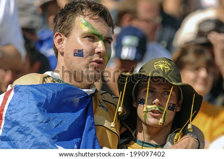 MARSEILLE, FRANCE-OCTOBER 06 2007: australian rugby fans, during the Rugby World Cup match England vs Australia, in Marseille.