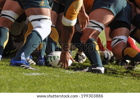 MARSEILLE, FRANCE-OCTOBER 06 2007: close up of the australian rugby players scrum, during the match Australia vs England, of the Rugby World Cup, in Marseille.