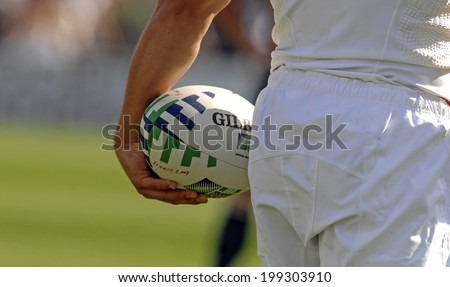 MARSEILLE, FRANCE-OCTOBER 06 2007: england rugby player holds the ball, during the match Australia vs England, of the Rugby World Cup, in Marseille.
