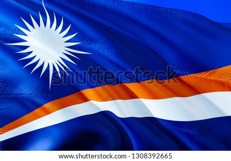 Marshall Islands flag. 3D Waving flag design. The national symbol of Marshall Islands, 3D rendering. National colors and National flag of Marshall Islands for a background. Oceania sign on silk