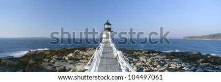 Marshall Point Lighthouse from 1832, Penobscot Bay, Port Clyde, Maine - stock photo