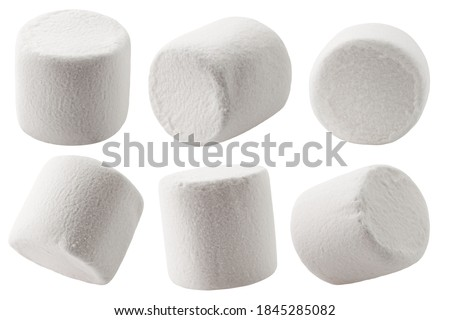 marshmallow isolated on white background, clipping path, full depth of field
