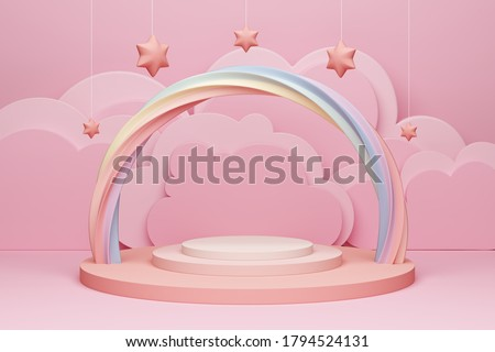 marshmallow pink pastel product podium or display rainbow girly girl advertising cloud layer set theatre vibe cutout twist sweet tooth makeup cosmetic teenager star model hanging. 3D Illustration.