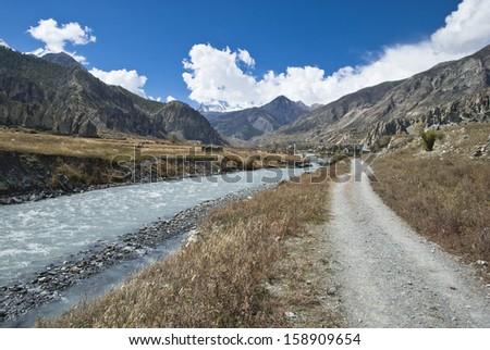 Marshyangdi River along the road to Manang, Annapurna Region, Himalayas, Nepal #158909654