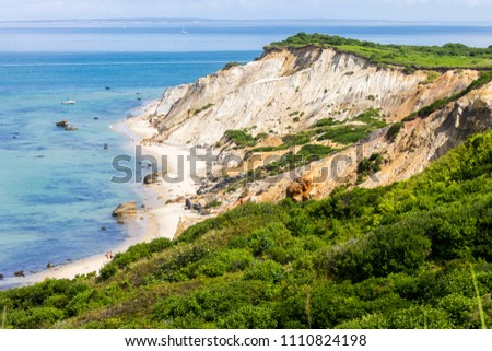 Martha's Vineyard, Massachusetts. Views of the Gay Head cliffs of clay, located on the town of Aquinnah western-most part of the island of Martha's Vineyard Photo stock ©
