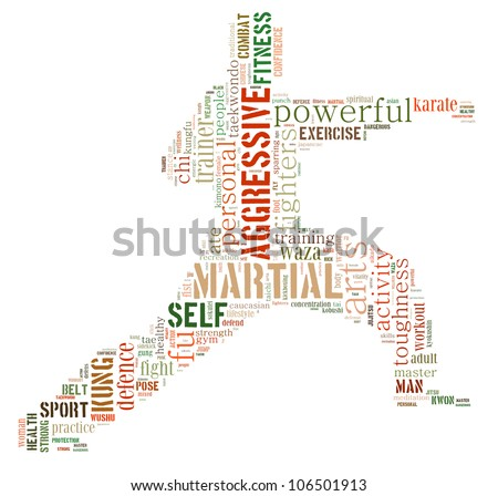 Martial art info-text graphics and arrangement concept (word cloud) with isolated white background