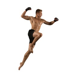 Martial arts fighter (MMA) isolated on white background