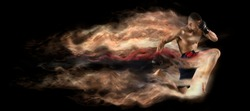 Martial arts fighter (MMA) jumping with a knee kick. Smoke background