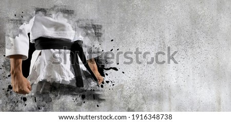 Martial arts master on wall background. Sports banner. Horizontal copy space background