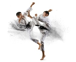 Martial arts masters, karate practice. Isolated background
