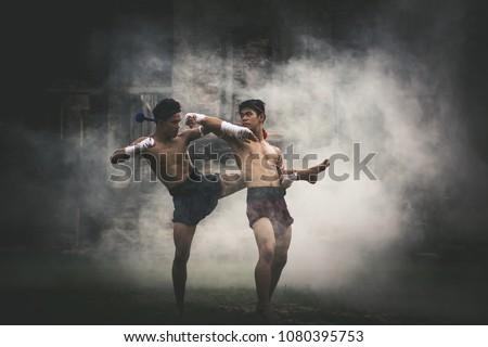 Martial arts of Muay Thai.Thai Boxing. Muay Thai.  #1080395753