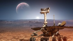 Martian rover Curiosity on surface of red planet Mars. Research of red planet. Perseverance 2020 rover. Elements of this image furnished by NASA