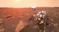 Martian rover Curiosity on surface of red planet Mars. Space collage. Sun glow on background. Elements of this image furnished by NASA