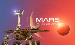 Martian rover Perseverance on surface of red planet Mars. Research of red planet. Perseverance 2020 rover. Elements of this image furnished by NASA